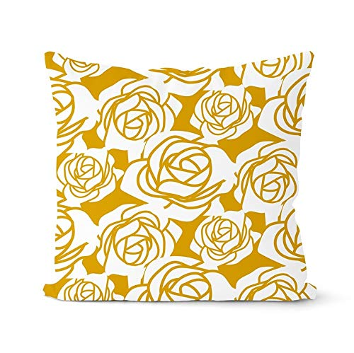 PPMP Yellow short plush cushion cover retro European flower pattern sofa pillow cover home decoration cushion cover A10 45x45cm