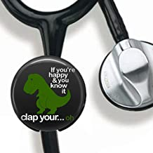 Cute Dinosaur Stethoscope Tag Personalized,Nurse Doctor Stethoscope ID Tag Customized, Medical Stethoscope Name Tag with Writable Surface-Black