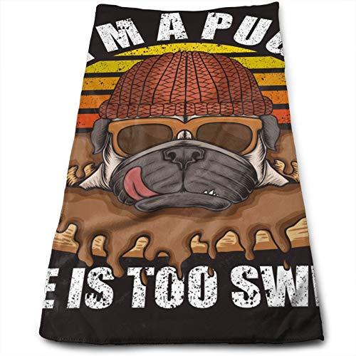 Toalla de Mano Retro Pug Dog Donuts, Toalla de Viaje, Toalla de baño, Toallitas Muy absorbentes Toallas Multiusos 70x30 cm