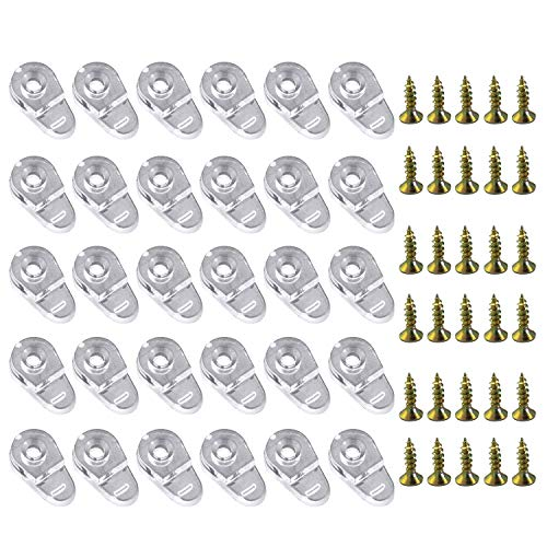 30 Pieces Glass Door Retainer Clips with Screw Glass Retainer Clips Kit Glass Panel Clips Glass Corner Buckle Cabinet Clips Mirror Holder Clips for Glass Cabinet Doors, Clear, 20 x 11mm