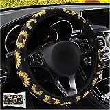 ALEMODR Sunflower Steering Wheel Cover Universal 15 inch