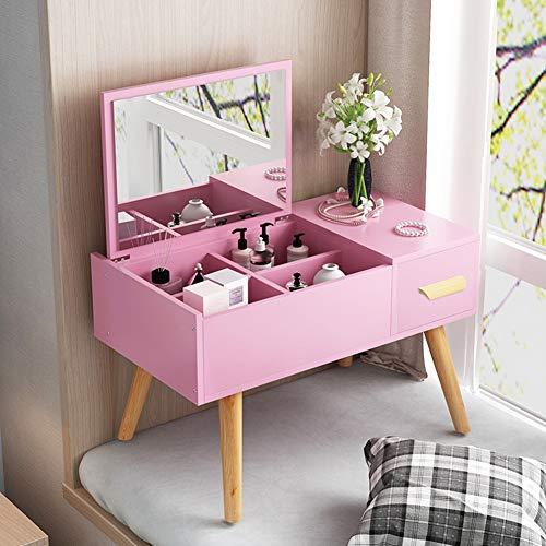 El tocador de Cama pequeña,Dressing Table,se Puede Utilizar como Mesa para Guardar, estudiar y Trabajar,Rosado,60CM