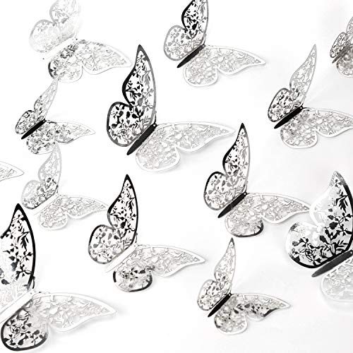 AIEX 24 Pezzi Ornamenti di Farfalle 3D Adesivi Rimovibili con 3 Diverse Dimensioni (Argento)