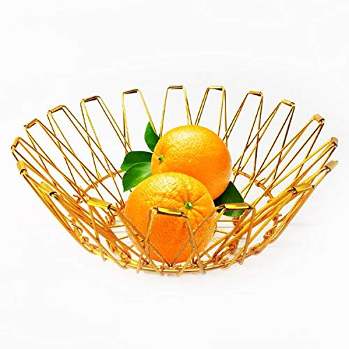 VARWANEO Flexible Wire Fruit Basket,Dish Bowl Storage Vegetables Bread Snacks Potpourris Baskets or bowls Candy Dish for Living Room Kitchen Pantry (gold)