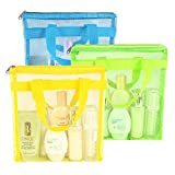 Portable Mesh Shower Caddy Tote, Quick Dry Tote Bag Mesh Beach Bags for Women, Hanging Toiletry and Bath Organizer for Travel Swimming Sports Gym Camp Shopping College Dorms (Blue Green Yellow)