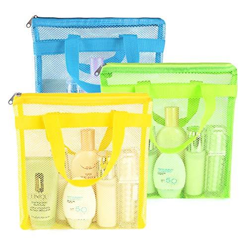 Bolsa de malla portátil para ducha, bolsa de malla de secado rápido, bolsa de playa para mujeres, para colgar artículos de aseo y organizador de baño para viajes, natación (Amarillo, verde, azul)