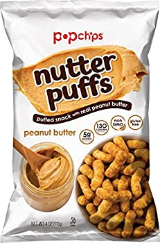 popchips Nutter Puffs Peanut Butter 4 Oz Bags  Pack Of 12