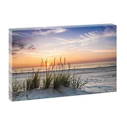 Querfarben Sonnenuntergang am Meer | Panoramabild im XXL Format | Poster | Wandbild | Fotografie | Trendiger Kunstdruck auf Leinwand Größen (120 cm x 80 cm, Farbig)