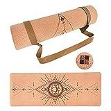 Esterilla Yoga,Esterilla Deporte Antideslizante Ecológica Corcho,183x65cm,6mm de Grosor,Yoga Mat,para...
