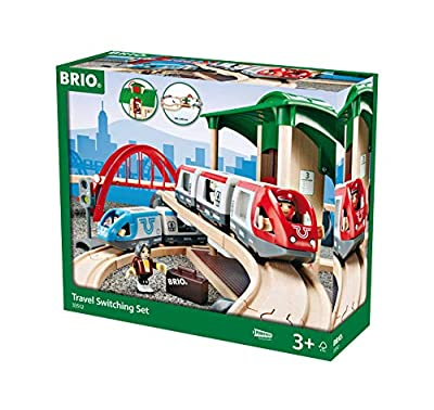 BRIO World - 33512 Travel Switching Set | 42 Piece Train Toy with Accessories and Wooden Tracks for Kids Ages 3 and Up,Multi