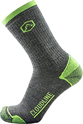 CloudLine Merino Wool Hiking & Trekking Crew Socks - Light Cushion - Large PNW Green - For Men & Women