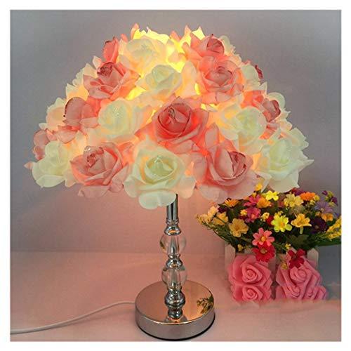 CXD tafellamp, Rose Shade Lamp bureaulamp voor woonkamer slaapkamerlampen, kristallen metalen voet, leeslamp op bed (verjaardagsfeest-bruiloftsdecoratie) 40W E27 gloeilampstekker-stroom, geen USB