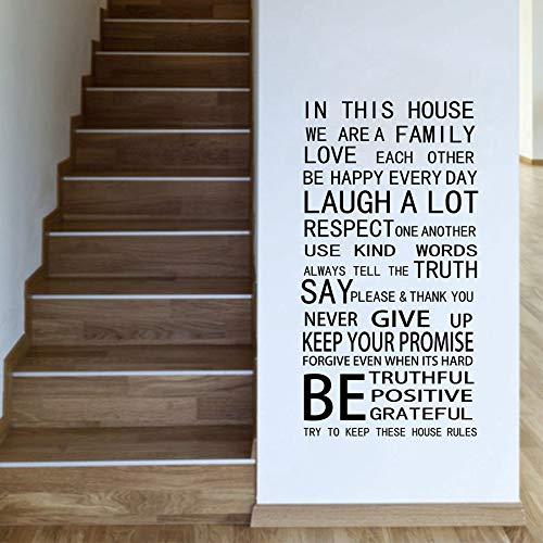 Abkbcw Reglas de la casa Etiqueta de la Pared Etiqueta de la Pared Decoración del hogar 105x56 cm