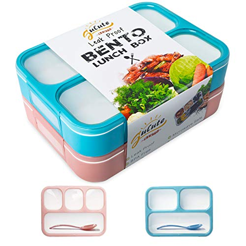 Leakproof Bento Lunch Box Container For Kids and Adult -2 Leakproof Containers with 3 and 4 Compartments-1 Tableware Set(Stainless Steel spoon and fork)-BPA Free Microwave and Dishwasher Safe