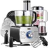 Tibek Küchenmaschine 1100W, 3 Geschwindigkeiten Plus Pulsfunktion (inkl Standmixer, Knethaken,...