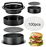 10. Hamburger Press Patty Maker, TAOUNOA 3 in 1 Non-Stick Burger Press for MakingDelicious Burgers, Perfect Shaped Patties, for grilling and cooking, with 100 PCS Wax Paper.
