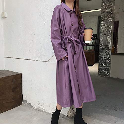 Chaqueta De Cuero Para Mujer, Moda Vintage Clásico Púrpura Rompevientos Largo Cinturón Suelto Correa Ropa De Vestir Señoras Otoño Primavera Cuero Biker Moto Chaqueta, Cómodo Suave Pu Cuero Mat