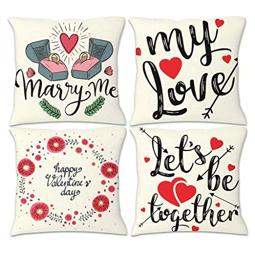 NC83 4 stuks linnen sierkussen case kussensloop Valentijnsdag thema print sofakussen case voor fotografie decoratie - liefde