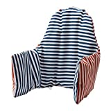 Ikea High Chair Cushion Antilop & Cover - Reversible with 2 colors red or blue (Model: PYTTIG)