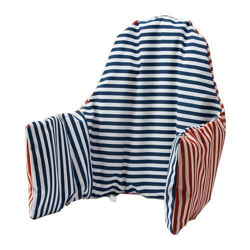 Ikea High Chair Cushion and Cover, Red/Blue