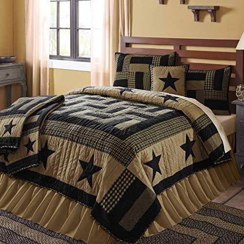 VHC Brands Delaware Quilt, Twin 68x86, Black