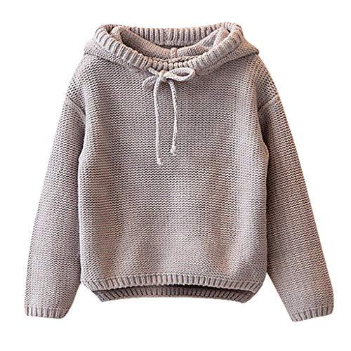 FeiliandaJJ Mädchen Jungen Kapuze Pullover Kinder Baby Winter Warm Langarm Strickpullover Pullis Sweater Mantel (90(2-3 Jahre), Grau)