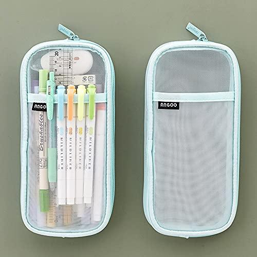 Meyas Estuche transparente de malla para lápices, estuche grande, para adolescentes, niñas, niños, bolsa para lápices, bolsa de papel de carta, estuche para lápices, estuche para niños, regalo (verde)