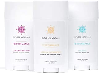 Explore Naturals Performance Deodorant Favorites 3-Pack (Sea Sage, Vanilla Clementine, Coconut Delight) – Aluminum-Free, All-Day Performance - Paraben, Phthalate, Sulfate & Cruelty Free, Made in USA