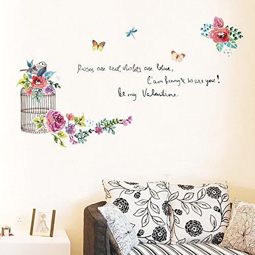 HCCY Geschilderde vogel kooi muur mount de TV in de woonkamer muur sticker art deco romantische slaapkamer nachtkastje muur papier 180 * 100cm
