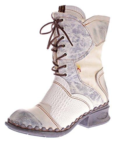 TMA Damen Winter Stiefel echt Leder Schuhe gefüttert Comfort Boots TMA 5766 Stiefeletten Weiß-Creme Gr. 38