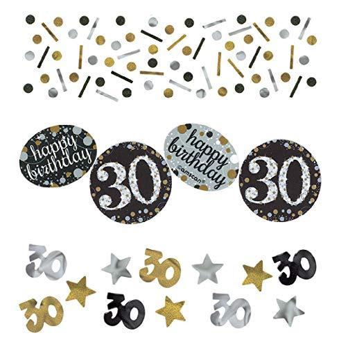 Amscan 3601873 Tüten Konfetti * 30. GEBURTSTAG - SPARKLING * für eine Party 34 Gramm Inhalt Gold und Silber