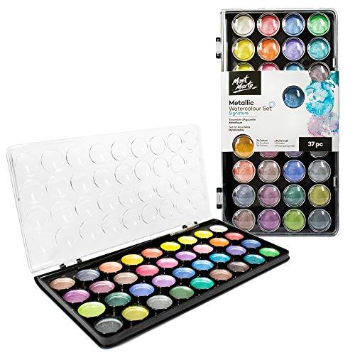 Mont Marte Signature Metallic Watercolor Set, 37 Piece Pearl Paint, 36 Vibrant Colors, 1 Paint Brush