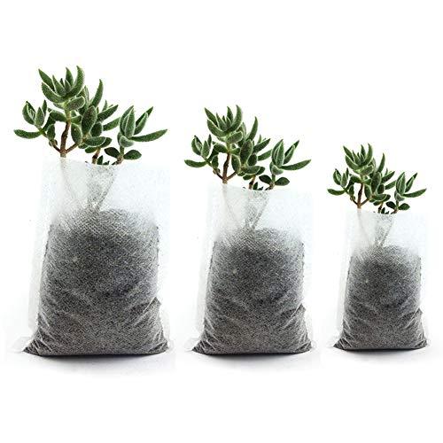 Warooma 400 Stück Pflanztaschen in 3 Größen, Vlies-Pflanzbeutel, abbaubarer Stoff, Setzling-Aufzuchttöpfe, Pflanzen-Beutel, Heim- und Gartenzubehör
