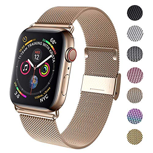 INZAKI Correa Compatible con Dispositivos Apple Watch 38mm 40mm 42mm 44mm,La Pulsera Loop es una Malla de Acero Inoxidable Correa al ser magnética para iWatch Series 5/4/3/2/1, Sport, Edition