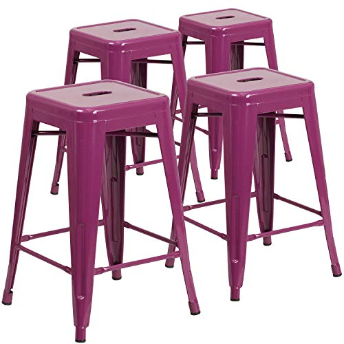 Flash Furniture Commercial Grade 4 Pack 24″ High Backless Purple Indoor-Outdoor Counter Height Stool