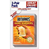 HotHands Air Activated Hand Warmers, Up to 10 Hours of Heat, 3 Pairs each (Value Pack of 2)