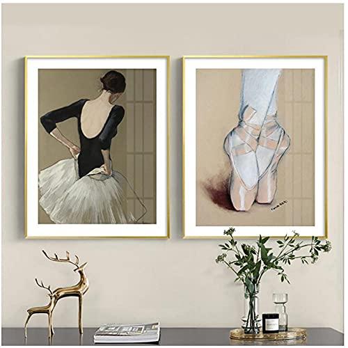 YQQICC Escandinavia moderna bailarina de Ballet chica cartel estilo nórdico chica pared arte lienzo pintura decoración imagen-40x60cmx2 sin marco