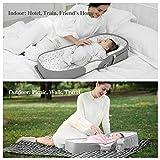 SUNVENO 4 in 1 Wickeltasche, Wickelrucksack mit Babybett, Multifunctional Babynest, Reisebett für Babys, Geschenk für Baby, 0-12 Monate, Grau - 2