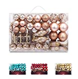 AMS 90ct Christmas Ball Assorted Pendant Shatterproof Ball Ornament Set Seasonal Decorations with Reusable Hand-Help Gift Boxes Ideal for Xmas, Holiday and Party (90ct, Champagne)