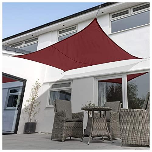 Toldo Vela de Sombra Transpirable Se instala en Fachada, Resistente Protección Rayos UV para Exterior Terraza Jardín Pérgola, Patio o Balcón Toldo Completo, Co(Size:3.6×3.6m(12×12ft),Color:Terra rojo)