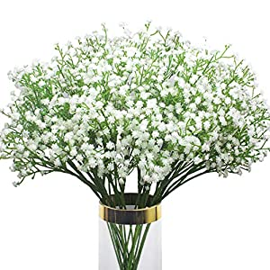 12 Pcs Artificial Baby Breath Flowers , Real Touch Gypsophila Bouquets Fake White Flowers for Wedding DIY Party Home Garden Decoration