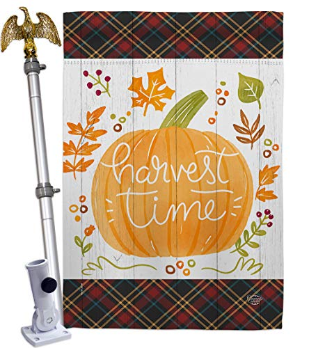 Ornament Collection Harvest Time House Flag Eagle Set Fall & Autumn Scarecrow Pumkins Sunflower Leaves Season Autumntime Gathering Decoration Banner Small Garden Yard Gift Double-Sided, Made in USA