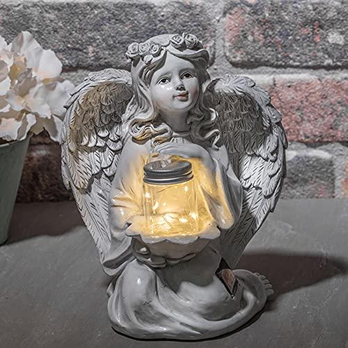 GloBrite Guardian Angel Garden Statue, Solar Lights Angel Decorations for...