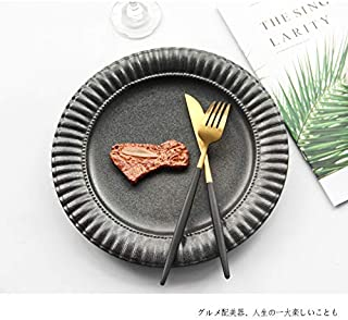JXHJQY Japanese retro style 10 inch lace disc cutlery steak dish pasta plate simple antique ceramic tableware