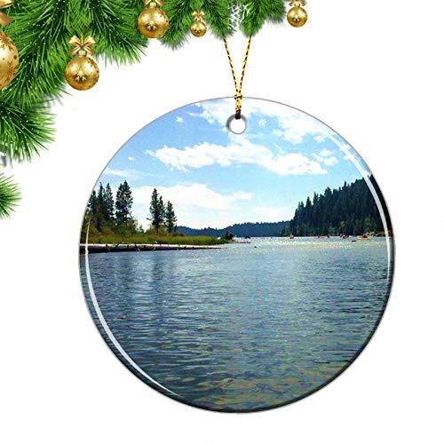 USA McCall ID Christmas Ornaments USA McCall Payette Lake Christmas Ornaments Ceramic Sheet Souvenir Travel Gift