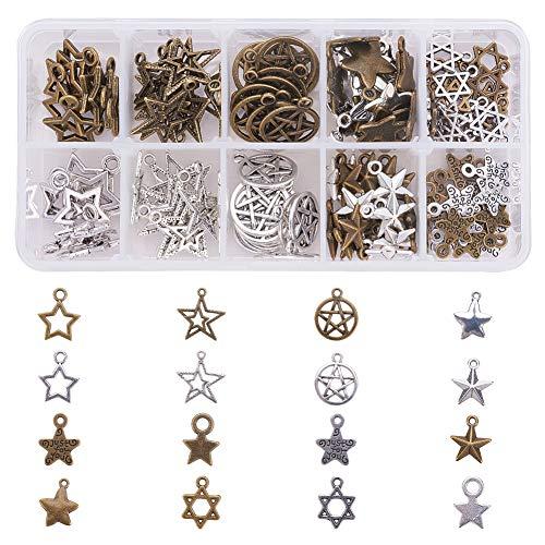 PandaHall 160pcs 8 Formes Pendentifs en Forme d'étoile pour Bricolage Collier Bracelet Fabrication de Bijoux, Bronze Antique/Argent Antique, Trou: 1-3mm