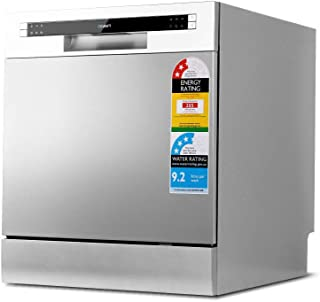 Devanti Benchtop Dishwasher 8 Place Settings Counter Bench Top Dish Washer Water & Energy Efficient Freestanding Silver