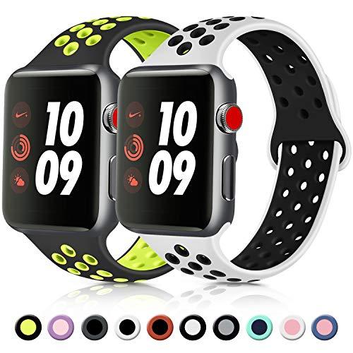 Vancle コンパチブル Apple Watch バンド 38mm 42mm 40mm 44mm シリコンバンド アップルウォッチバンド 柔らかスポーツ 交換ベルト Apple Watch Series 5/4/3/2/1に対応 (42mm/44mm-S/M, 2色セット 黒/緑+白/黒)