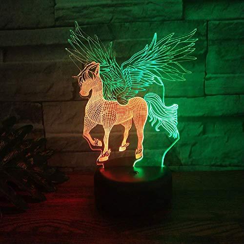 XKALXO 3D Night Light Led New Lamp Double Color Show Night Light Lampada Da Tavolo A Forma Di Unicorno Lampada Da Tavolo Decorazione Domestica Natale Regali Belli Bambini
