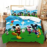 Haonsy Kids Mickey Mouse Bedding Sets Full Size 3 Pieces Mickey Mouse Clubhouse Duvet Cover Bed Set 3D Cartoon Mickey Minnie Mouse Comforter Set